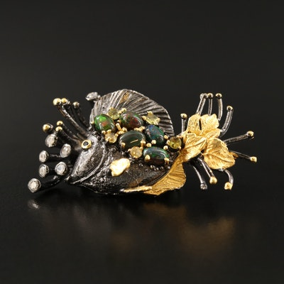 Sterling Opal, Citrine and Cubic Zirconia Fish Brooch