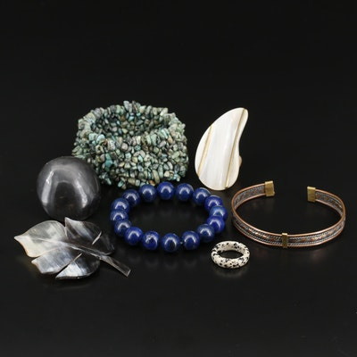 Selection of Bracelets and Rings Including Leaf Brooch
