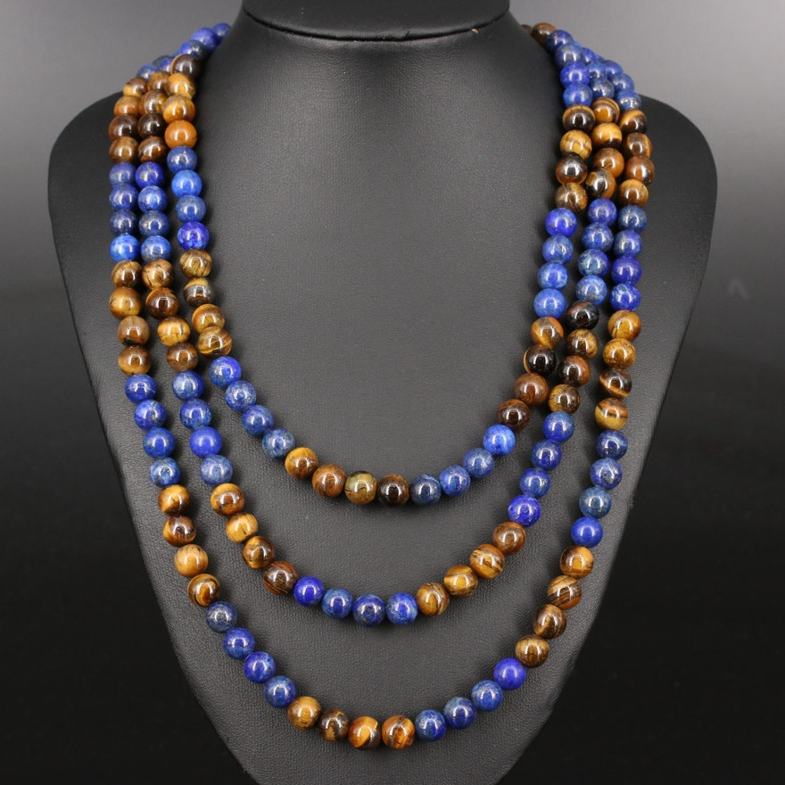 Graduated Lapis Lazuli and Tiger's Eye Necklace with Sterling Clasp and Beads