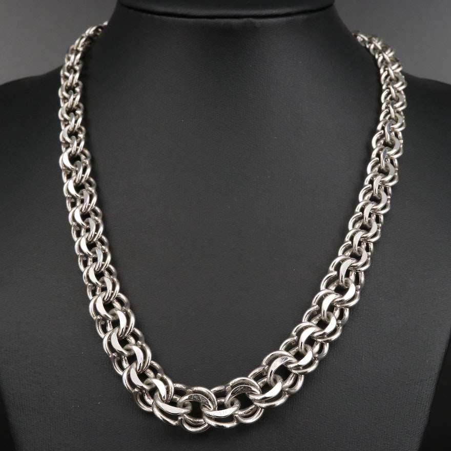 Sterling Silver Graduated Fancy Link Necklace