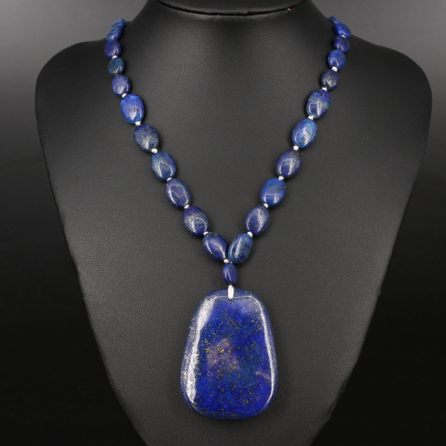 Knotted Lapis Lazuli Necklace with Sterling Clasp