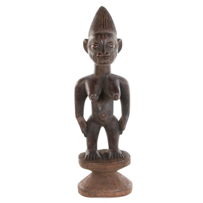 Yoruba Hand-Carved Wood Figure on Pedistal, West Africa