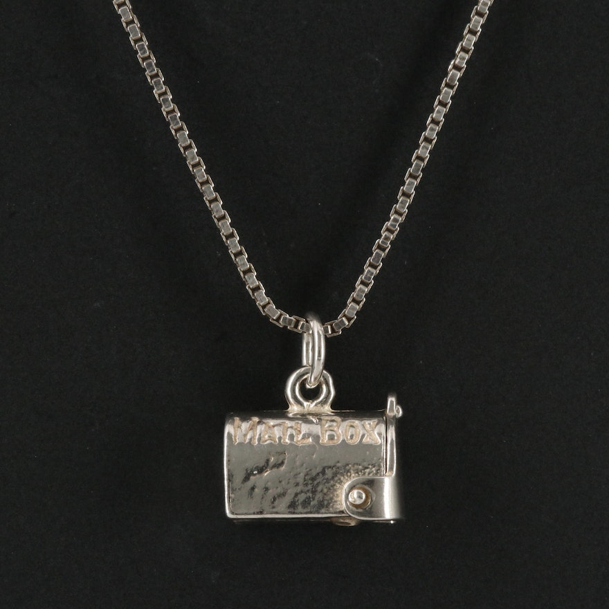 Sterling Silver Mailbox with Attached Letter Pendant Necklace
