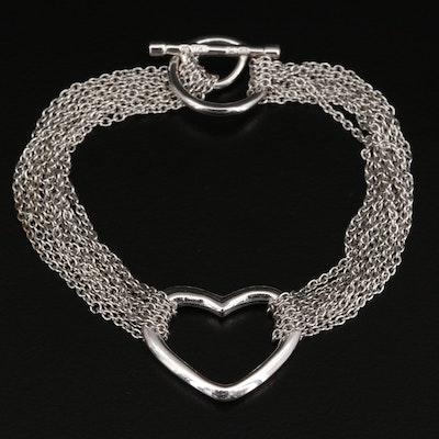 Sterling Silver Multi-Strand Heart Bracelet
