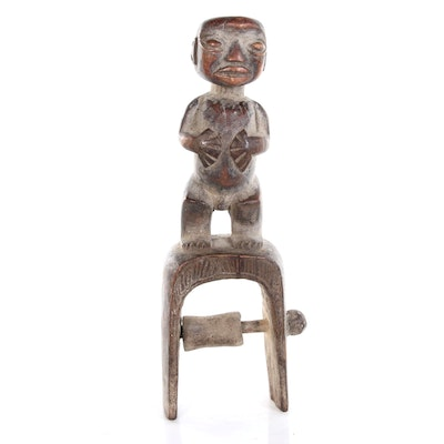 Tikar Style Hand-Carved Wood Heddle Pulley, Cameroon