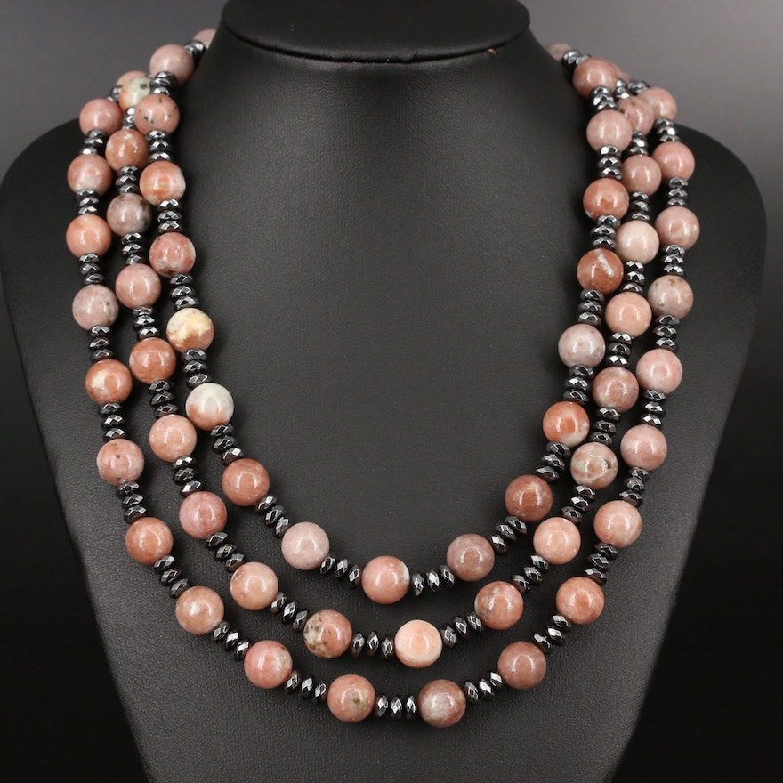 Graduated Calcite and Hematite Triple Strand Bead Necklace with Sterling Clasp
