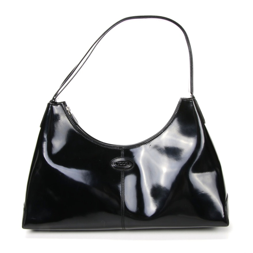 Tod's Black Glazed Leather Shoulder Bag