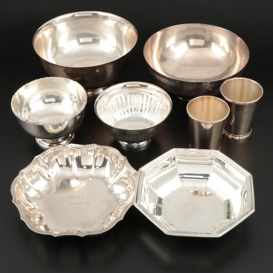 Silver Plate Julep Cups, Bowls and Serving Dishes