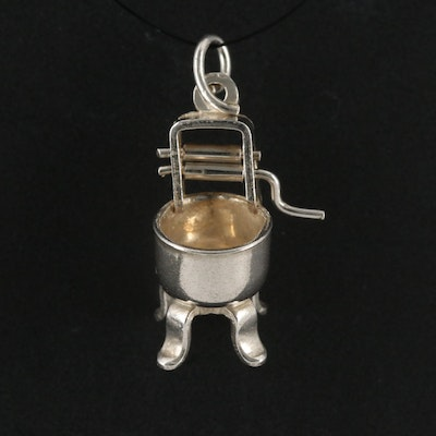 Sterling Antique Washing Machine Charm Pendant