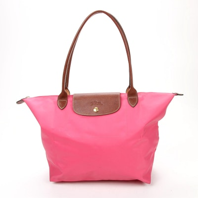 Longchamp Le Pliage Shopping Tote in Salmon Nylon and Brown Textured Leather