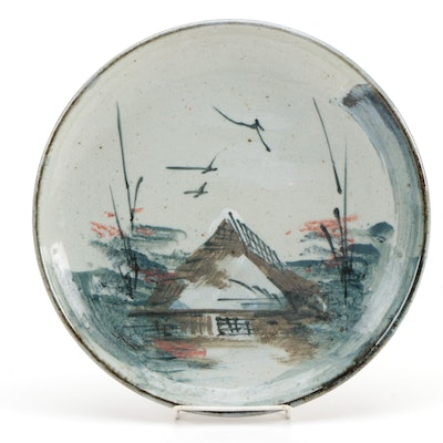 Japanese Hand-Painted Porcelain Charger with Cottage Scene, 1957