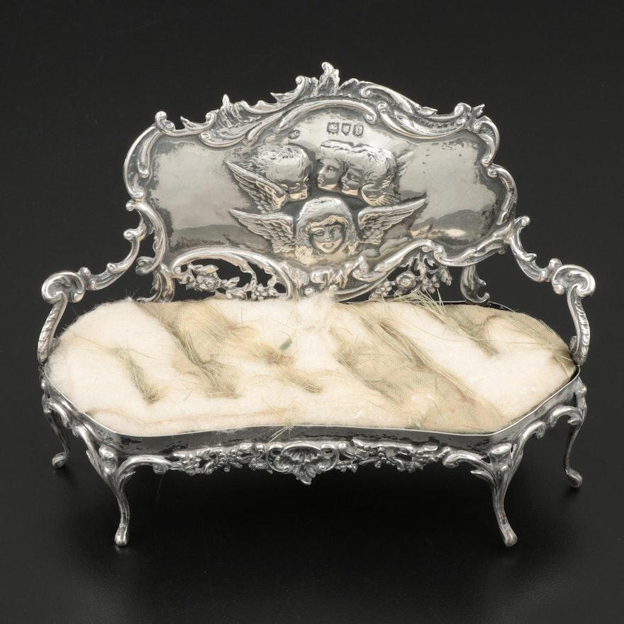 Edwardian William Comyns & Sons Sterling Silver Miniature Sofa Pincushion, 1901