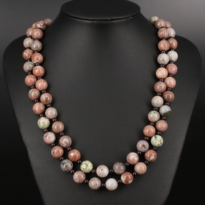 Double Strand Garnet, Agate and Jasper Beaded Necklace with Sterling Clasp