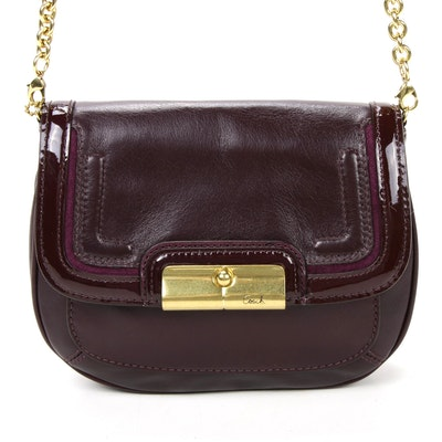 Coach Chain Strap Crossbody Bag in Plum Leather with Patent Leather Trim