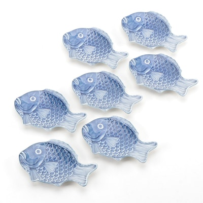 Japanese Blue and White Porcelain Fish Plates