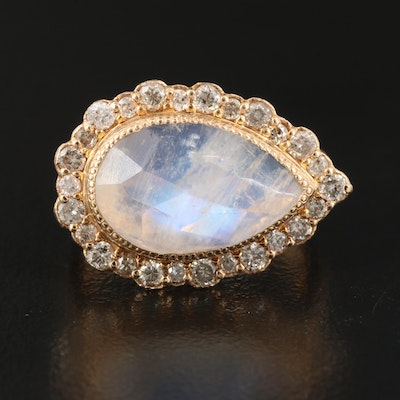 18K Rainbow Moonstone and Diamond East to West Halo Ring