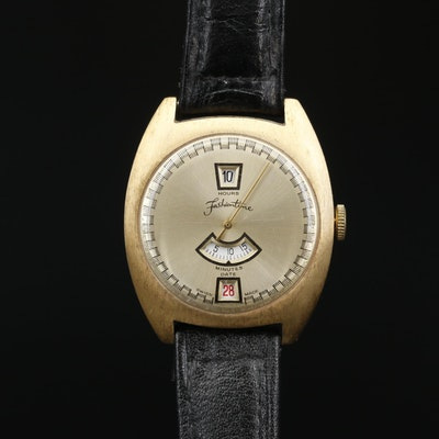 Vintage Fashion Time Jump Hour Gold Tone Stem Wind Wristwatch