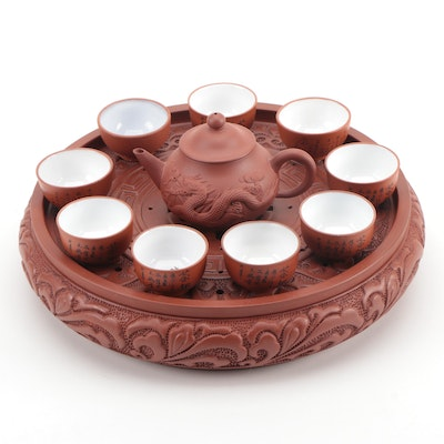 Chinese Yixing Ware Clay Tea Set and Tray, Late 20th Century