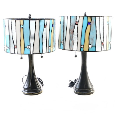 Pair of Contemporary Jeweled Stained Glass Style Metal Base Table Lamps