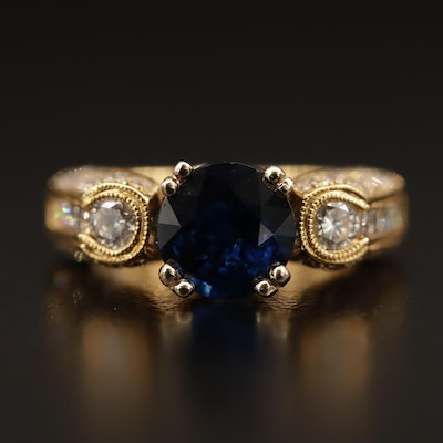 18K Gold 1.50 CT Sapphire and 1.49 CTW Diamond Ring