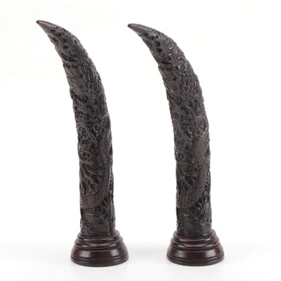 Pair of Chinese Resin Horns with Dragon Motif, Late 20th Century
