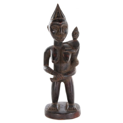 Kongo-Yombe Style Hand-Carved Wooden Maternity Figure, Central Africa