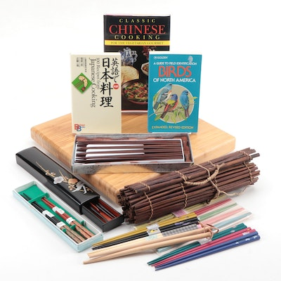 Chopsticks, Bamboo Sushi Roller, Sushi Board, Cookbooks, and Other Books