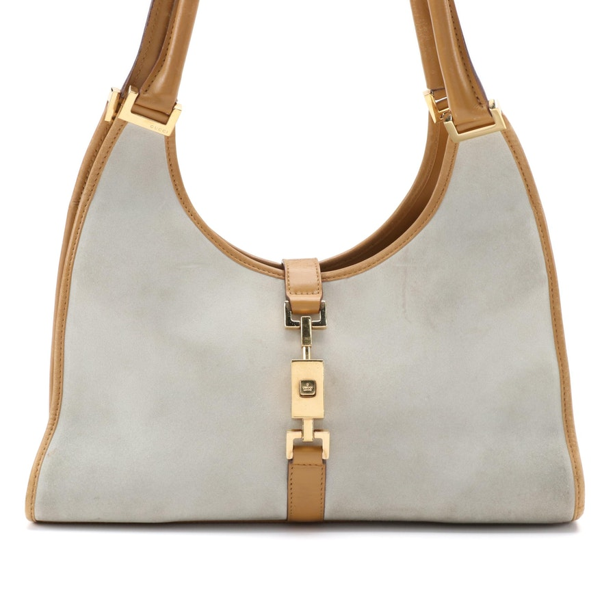 Gucci Piston Lock Suede Shoulder Bag with Tan Leather Trim