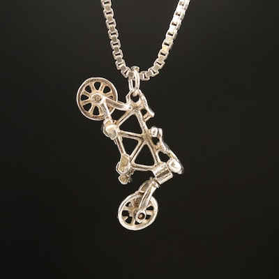 Sterling Tandem Bicycle Necklace with Movable Handle Bars, Pedals and Tires