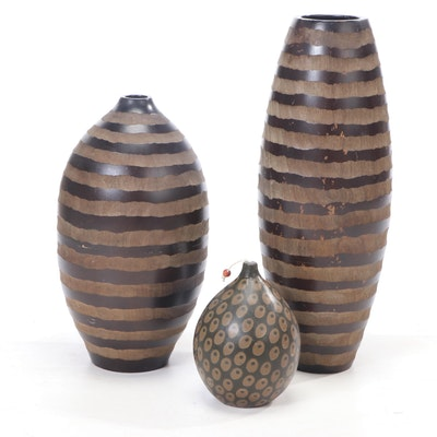 """Z Gallerie Carved Wood """"Trinidad"""" Vases with Candle"""