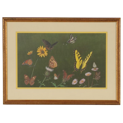 Butterfly Offset Lithograph after Ray Harm, Late 20th Century