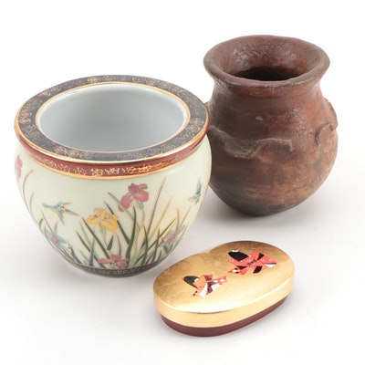 Amita Corp. Gold Leaf Lacquerware Box with Ceramic Planters