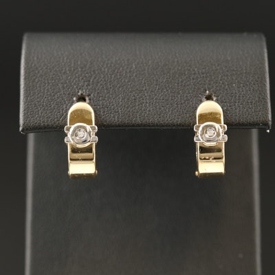 14K 0.02 CTW Diamond Solitaire Small Hoop Earrings