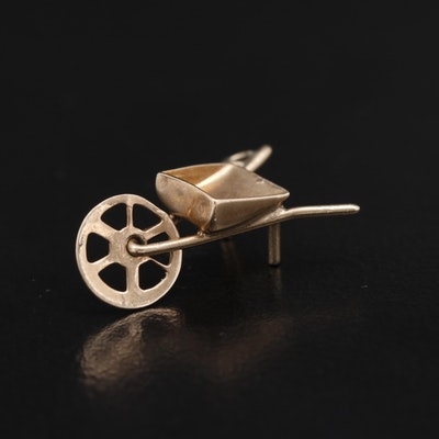 Vintage 9K Articulated Wheel Barrow Charm