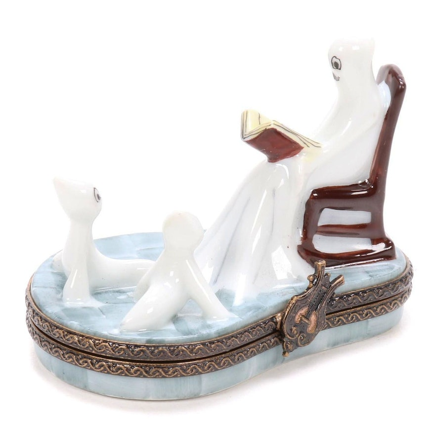 Hand Painted Limoges Ghost Reading Porcelain Box, Late 20th Century