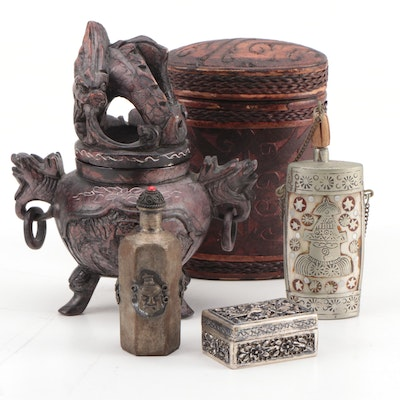 Chinese Snuff Bottles, Snuff Box and Tobacco Box with Dragon Incense Burner