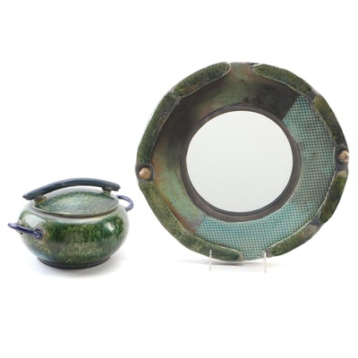 Judith Bryant Pottery Decorative Wall Mirror with Hand Thrown Lidded Dish