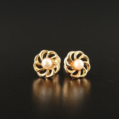 14K Pearl Pinwheel Earrings