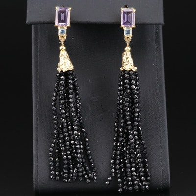 Sterling Silver Amethyst, Topaz and Spinel Tassel Earrings
