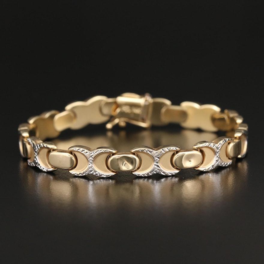 14K Fancy Link Diamond Cut Bracelet
