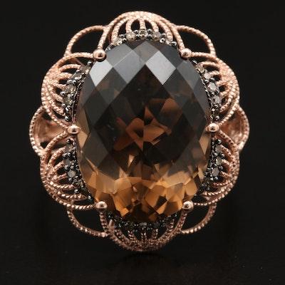 10K Rose Gold, Smoky Quartz and Diamond Ring