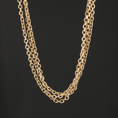 14K Triple Strand Cable Chain Necklace