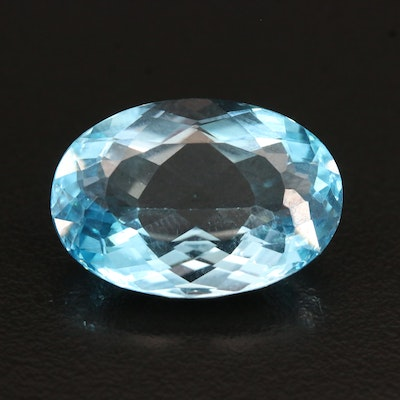 Loose 21.00 CT Oval Faceted Swiss Blue Topaz