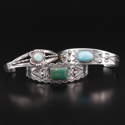 Southwestern Style Sterling Cuffs with Turquoise Accents and Stamp Work Design
