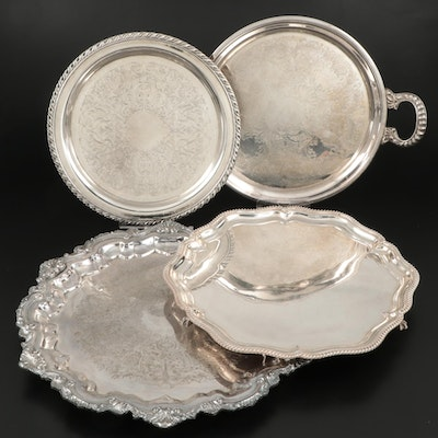 Wallace, Walker and Hall, Oneida, and Other Silver Plate Serving Trays