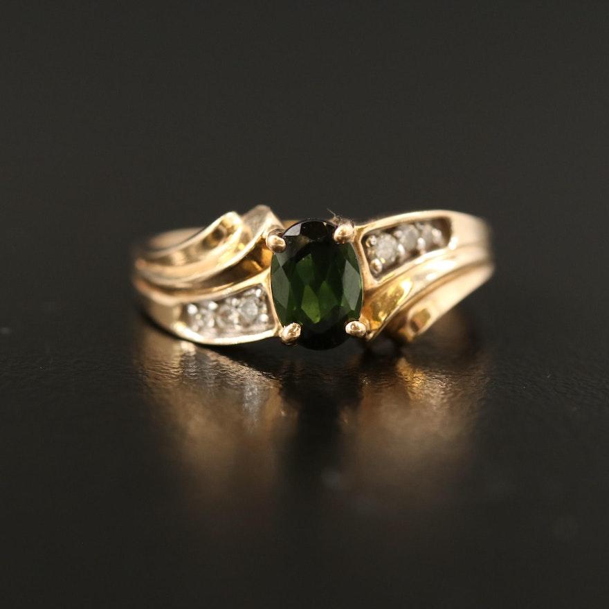 14K Tourmaline and Diamond Bypass Ring