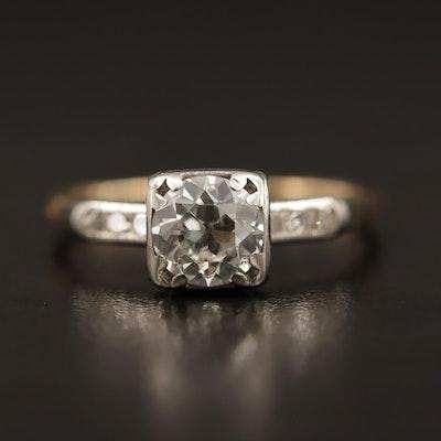 Vintage 14K Diamond Ring with Palladium Accents