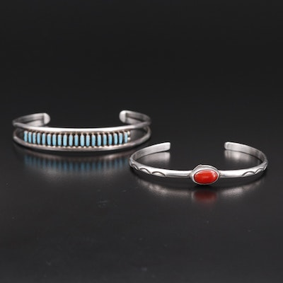 Western Style Sterling Silver Turquoise and Coral Cuffs