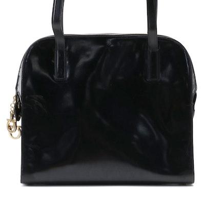 Salvatore Ferragamo Domed Business Satchel in Glazed Black Box Calf Leather