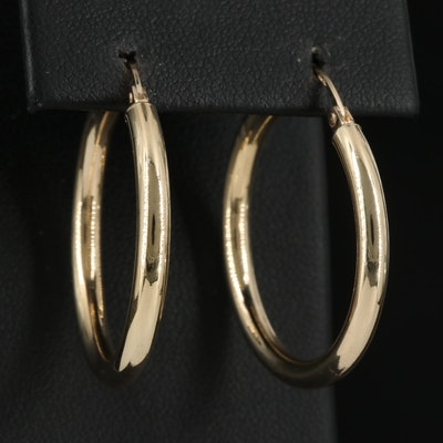 14K High Polish Hoop Earrings